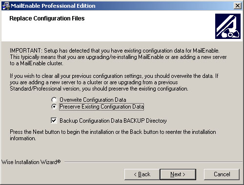 Preserve Existing Configuration Data